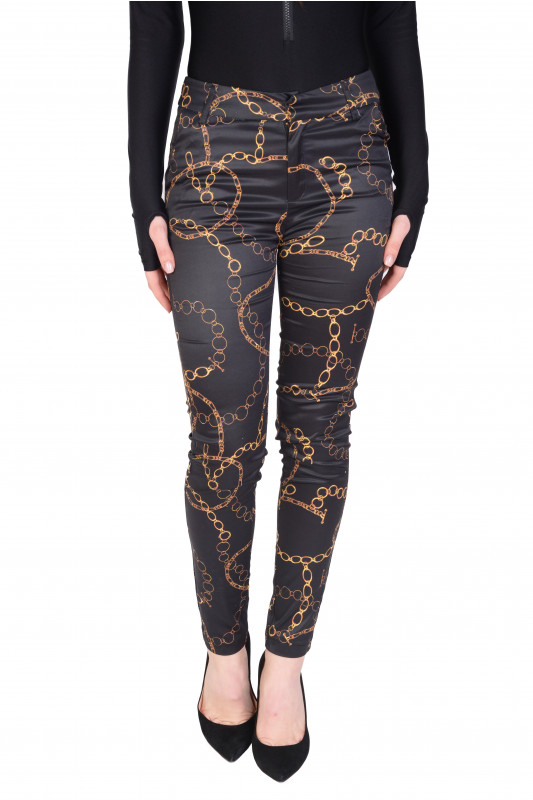 Pantaloni negri satin cu imprimeu lanturi 21817 NG