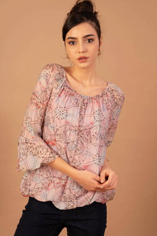 Bluza eleganta din matase 08876 Roz