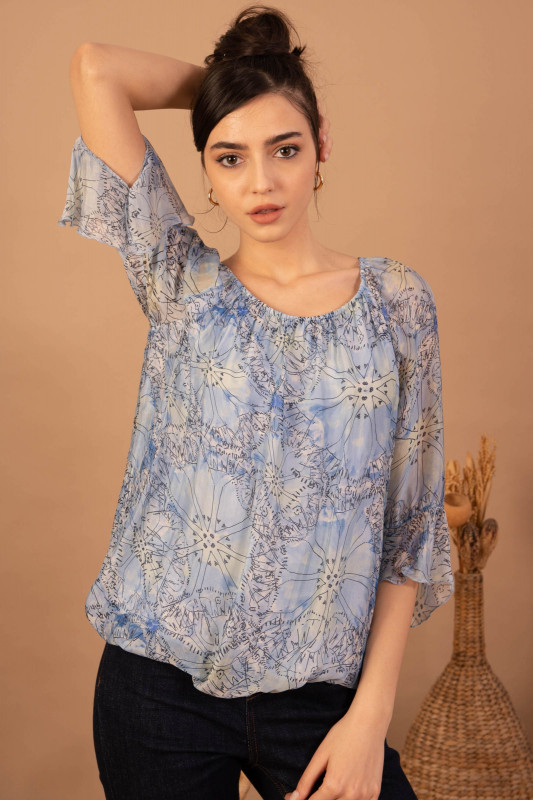 Bluza eleganta din matase 08876 Bleu