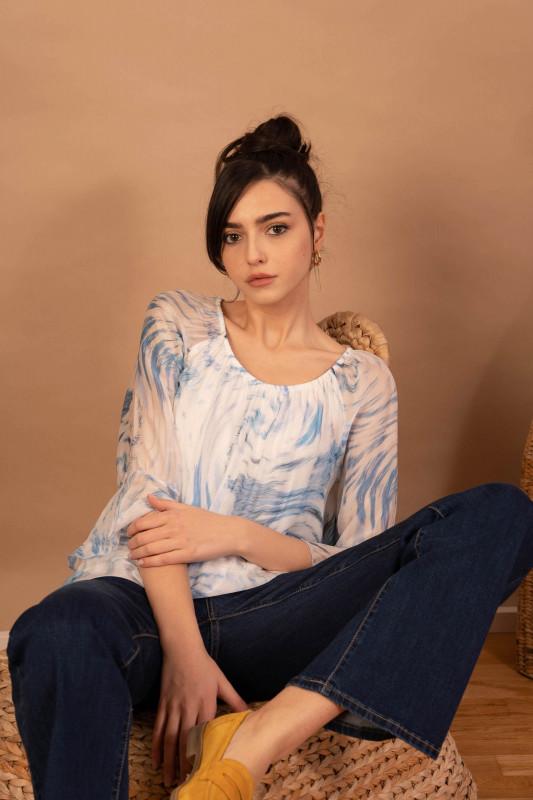 Bluza din matase cu imprimeu abstract 088762 Bleu