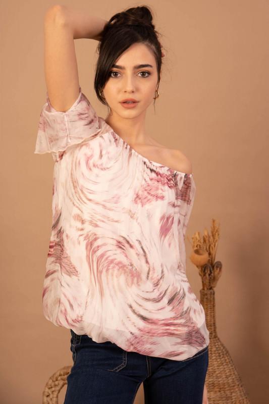 Bluza din matase cu imprimeu abstract 088762 Roz