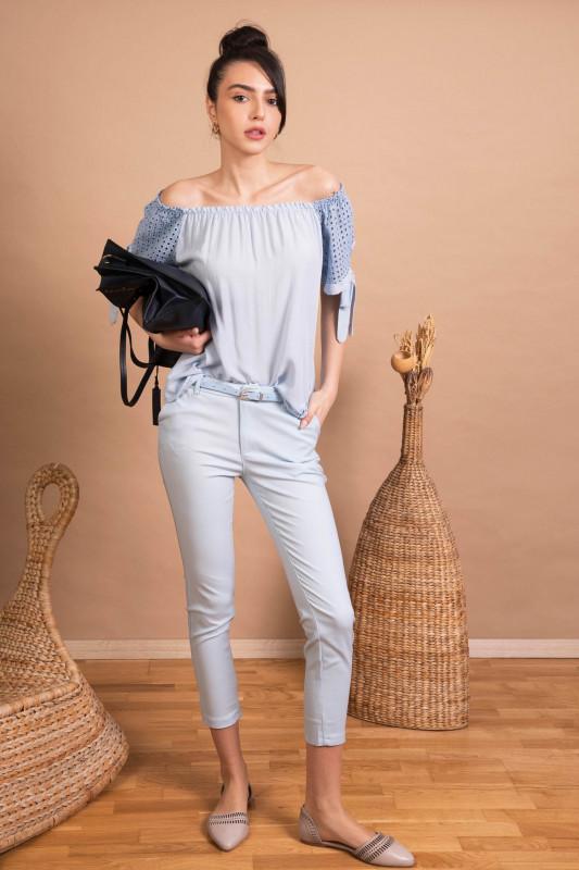 Pantaloni skinny din bumbac H8881 Bleu