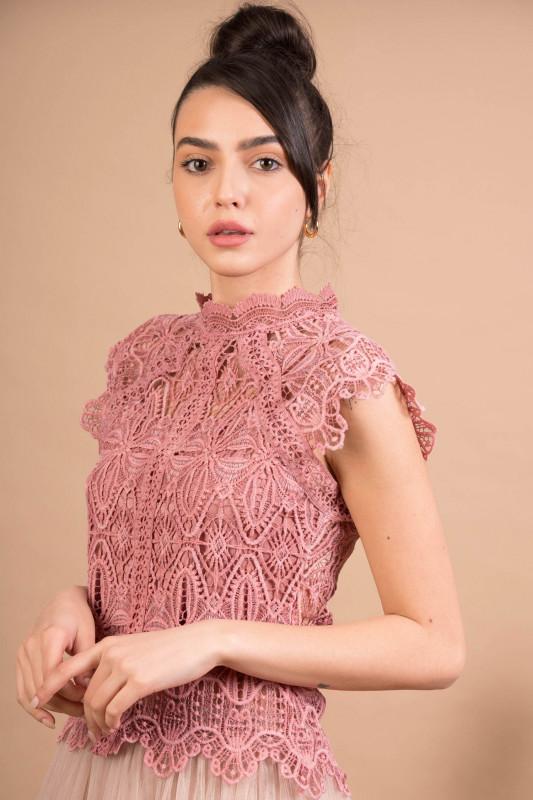 Bluza eleganta cu broderie florala 3019 Roz