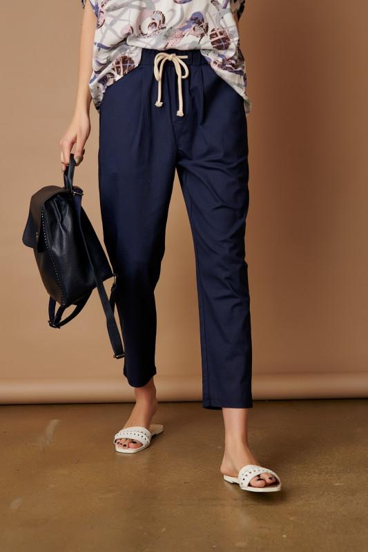 Pantaloni dama cu snur L6001 Bleumarin