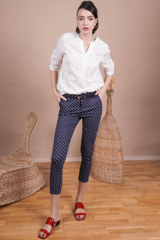 Pantaloni dama cu buline L012 Bleumarin