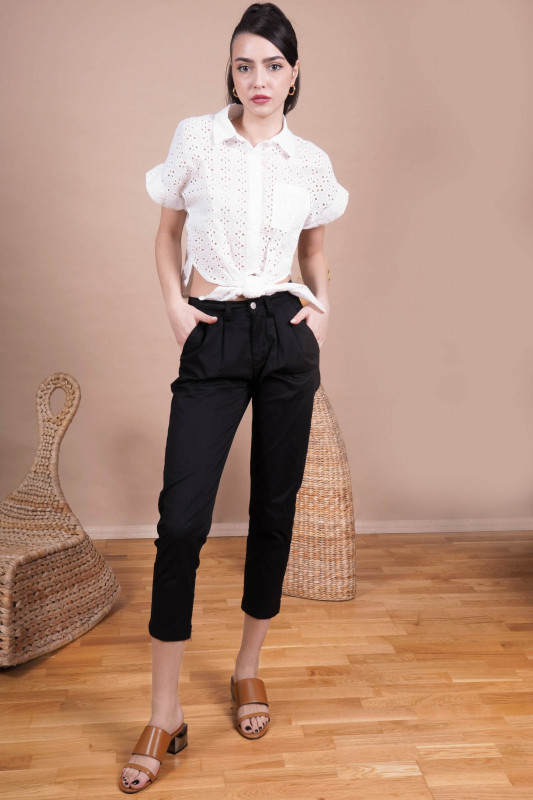Pantaloni cropp cu pense Q1848-1 Negru