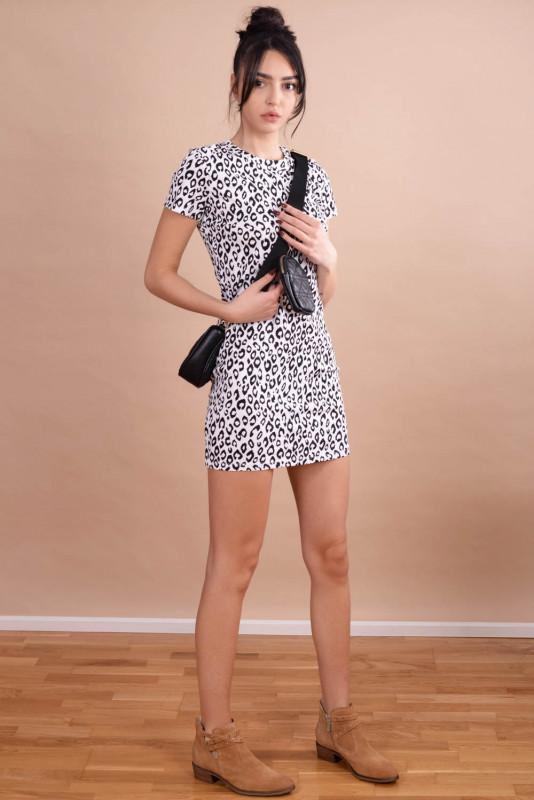Rochie cambrata cu animal print M3700 Alba