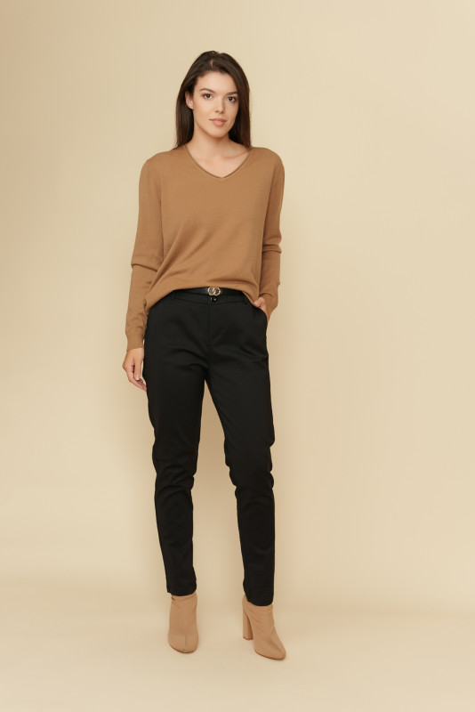 Pantaloni femei din bumbac L035-B Negri