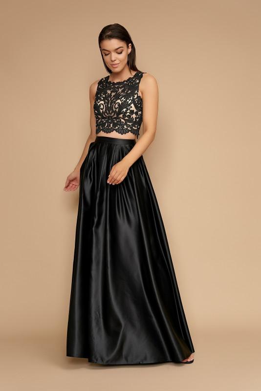 Compleu elegant top si fusta HM2266N negru