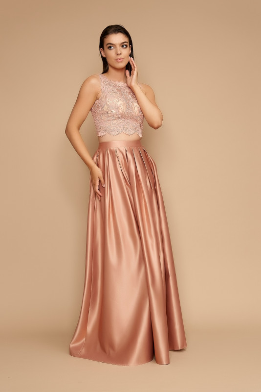 Compleu elegant top si fusta HM2266R roz