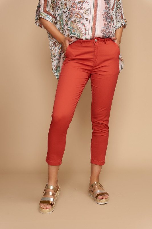 Pantaloni cazual din bumbac 351-10 Caramiziu