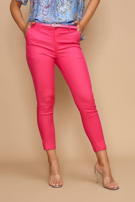 Pantaloni skinny din bumbac H8881 Ciclame