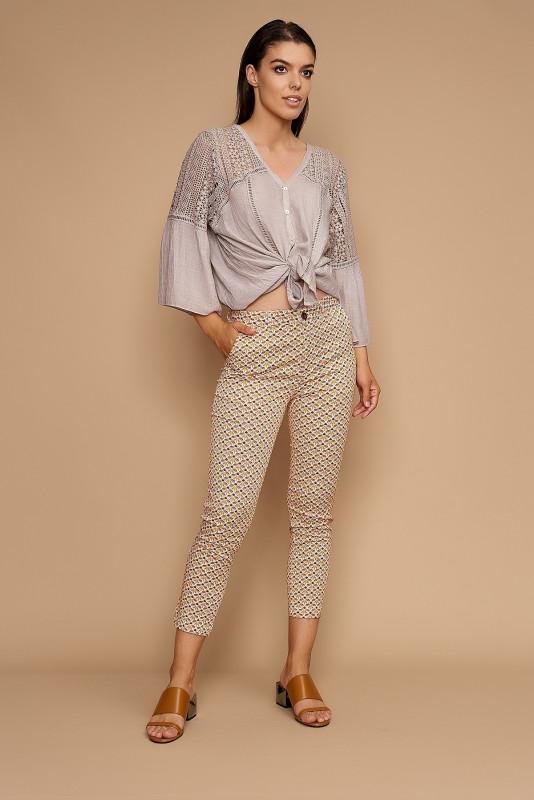 Pantaloni cropp cu imprimeu F2150-35 Orange