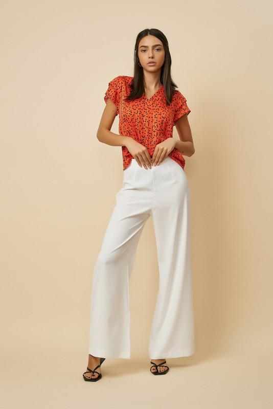 Pantaloni dama largi 22491-5 Albi