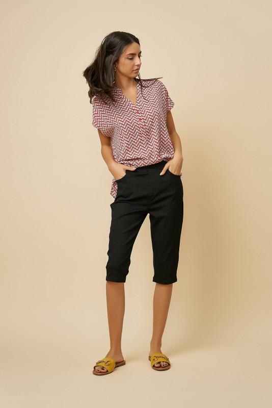 Pantaloni dama trei sferturi L2002 Negri