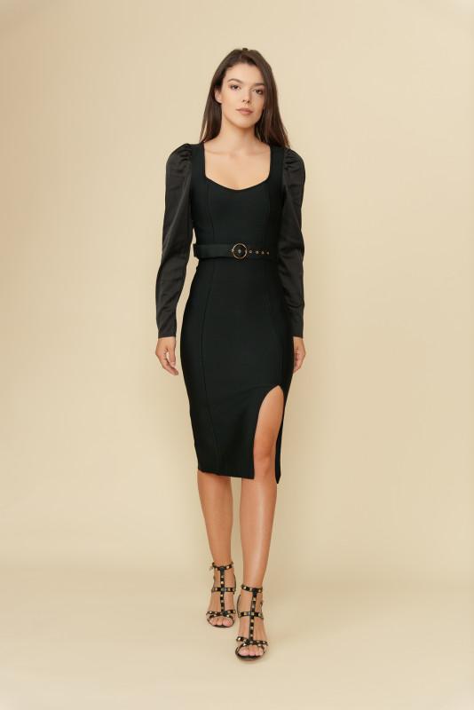 Rochie de seara cu crapatura 603756 Neagra
