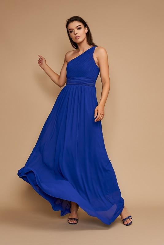 Rochie lunga pe un umar R1263AR albastra