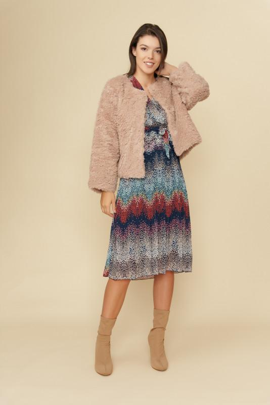 Jacheta dama din blana ecologica Y154 Roz