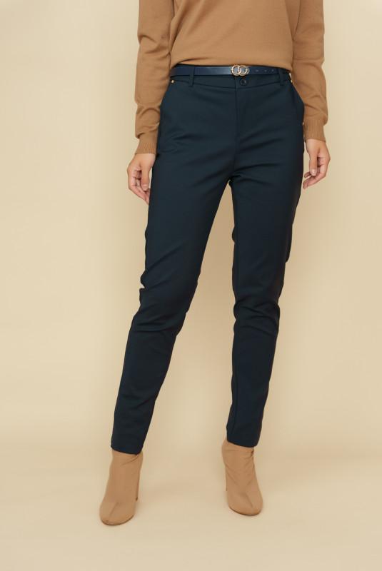 Pantaloni femei din bumbac L035-B Bleumarin