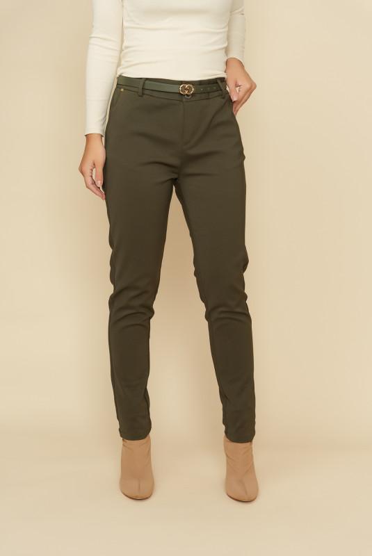 Pantaloni femei din bumbac L035-B Kaki