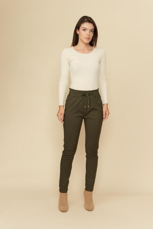 Pantaloni dama cu talie elastica L036 Kaki