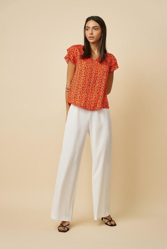 Bluza dama cu imprimeu inimi F2059-18 Orange