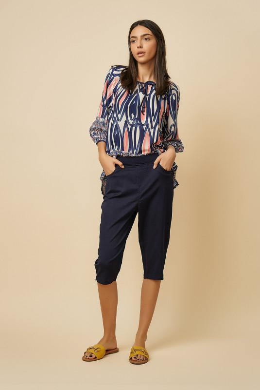 Pantaloni dama trei sferturi L2002 Bleumarin