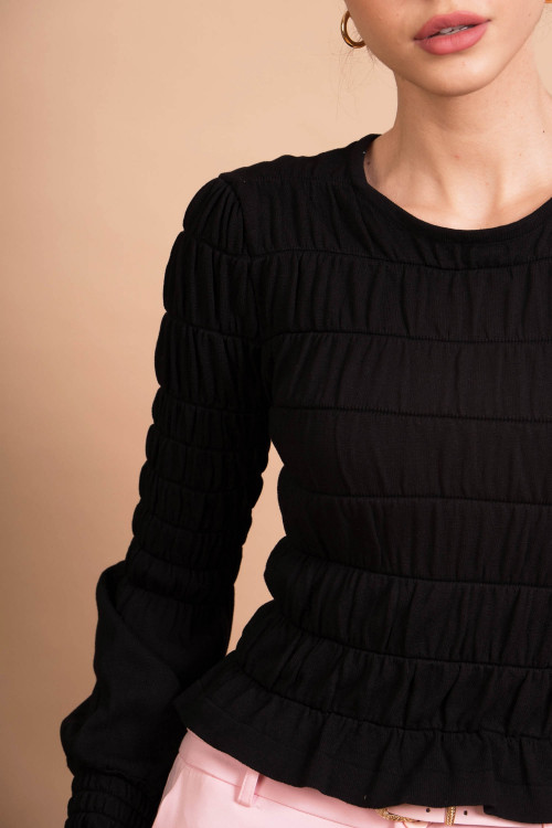 Pulover dama scurt negru QX368 N