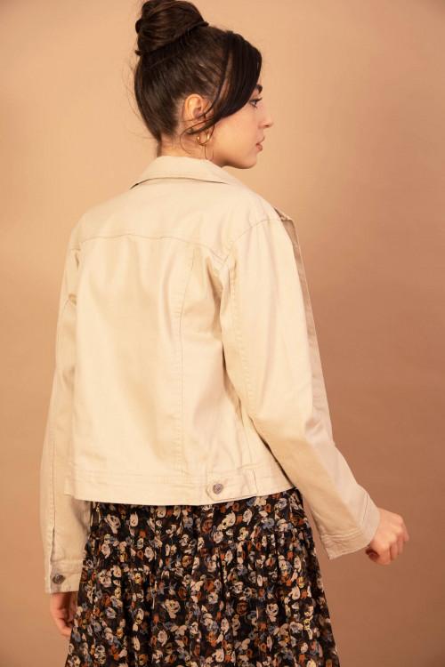 Jacheta casual din denim M5521 Bej