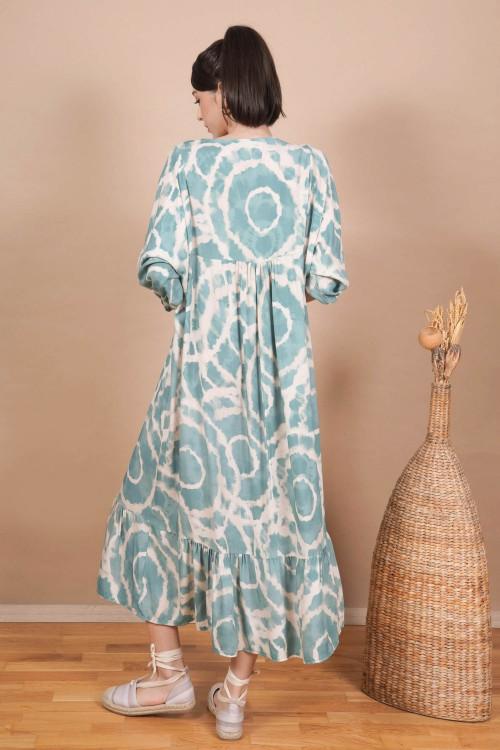 Rochie lunga cu cercuri tie-dye 3787 Verde