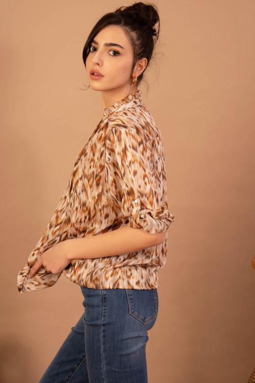 Bluza maro cu animal print C967-G M