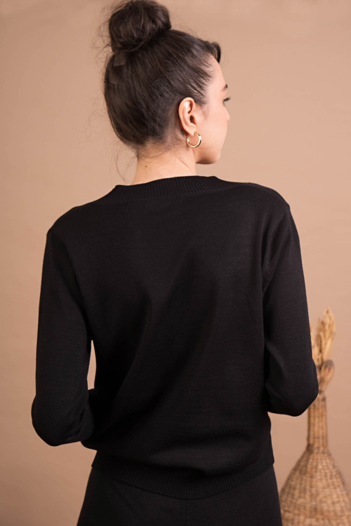 Pulover negru cu snur reglabil 9355 NG