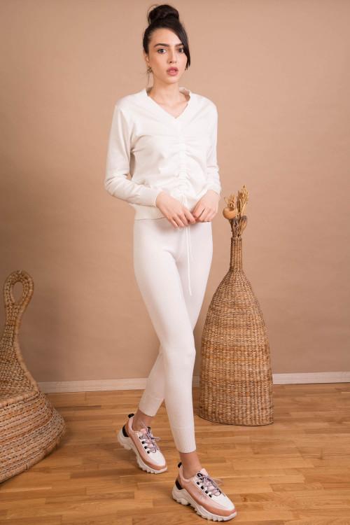 Pantaloni dama tricotati albi 9353 A