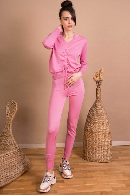 Pulover roz cu snur reglabil 9355 R