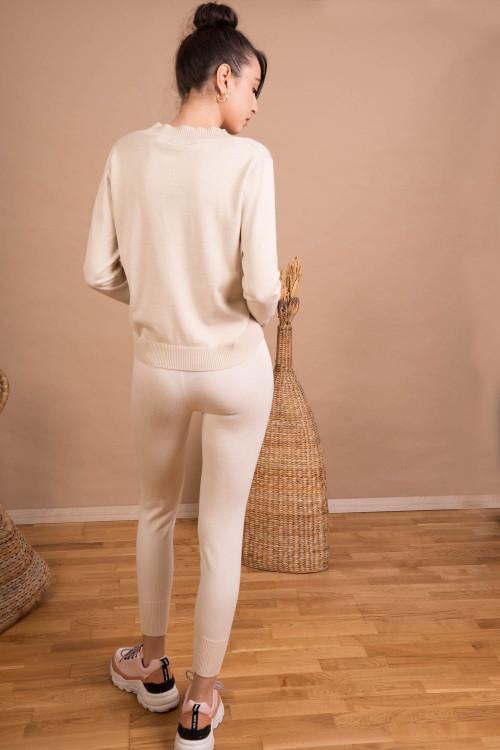 Pantaloni dama tricotati bej 9353 B