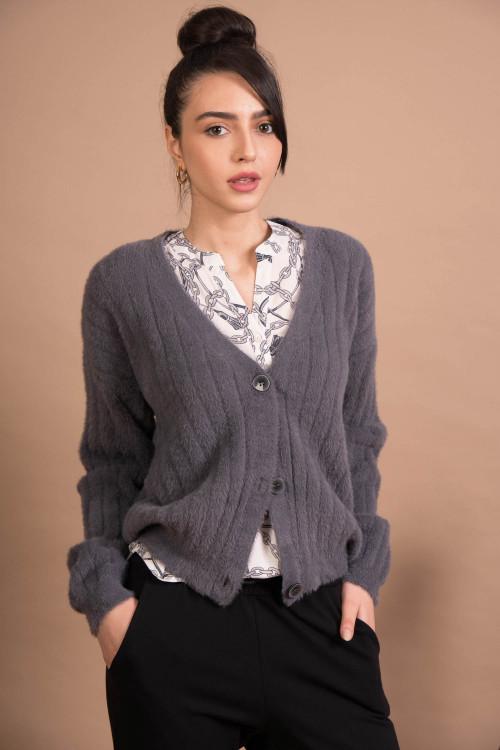 Jacheta dama gri tricotata 51313 Gri