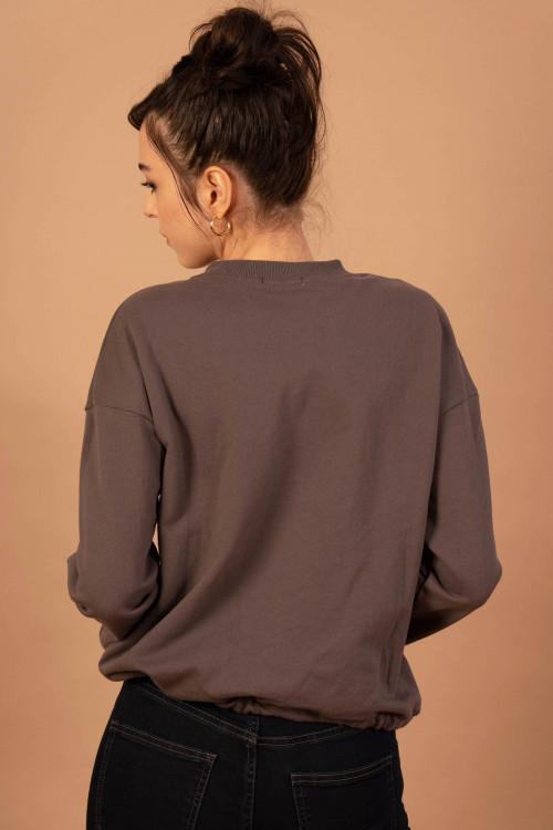 Bluza dama bumbac gri 55636 G