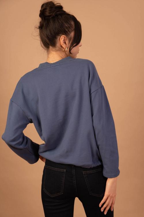 Bluza dama bumbac bleu 55636 Bl