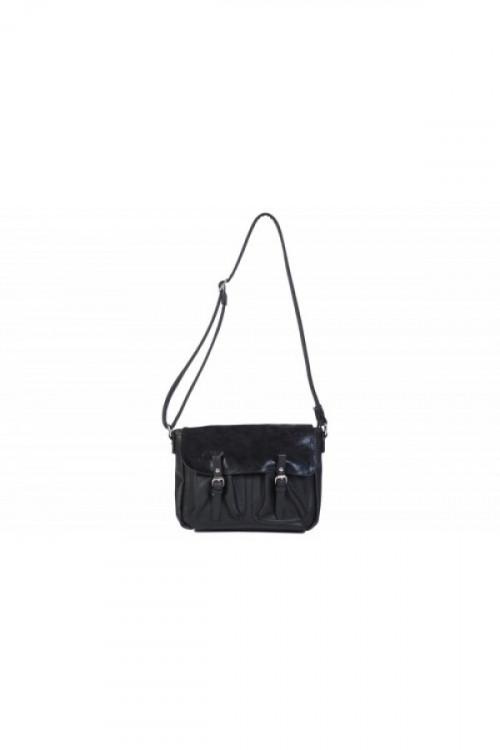 Geanta neagra satchel cu clapeta metalica 8055 N