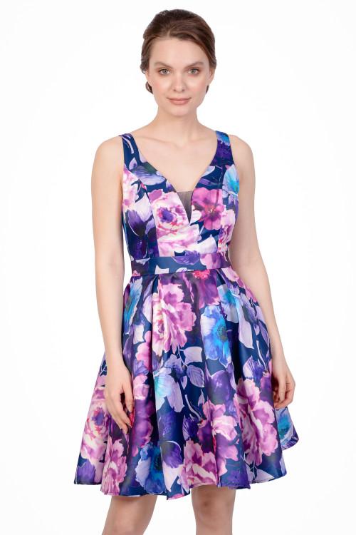 Rochie bleumarin cu print floral HM2187 BM