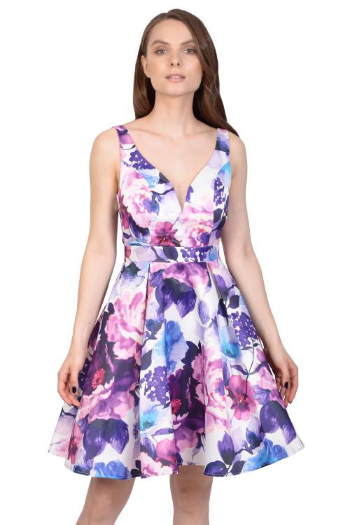 Rochie alba cu print floral HM2187 A