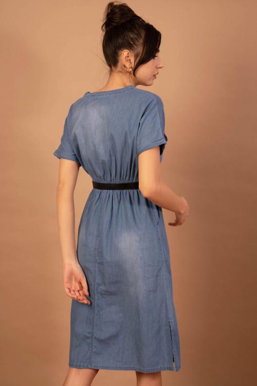 Rochie din denim cu maneca scurta 2981 Bleu