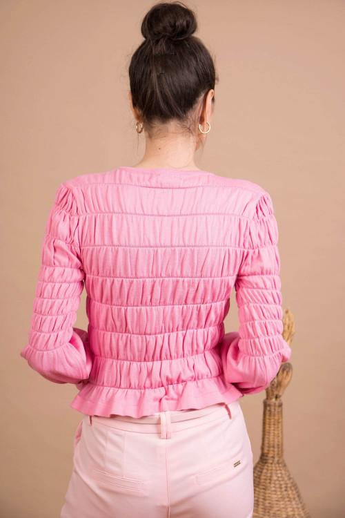 Pulover dama scurt roz QX368 R