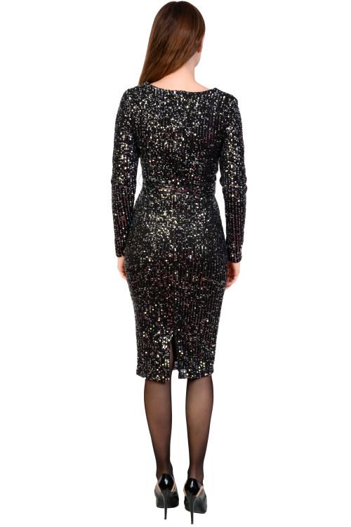 Rochie de seara neagra cu paiete 5283-6 NG