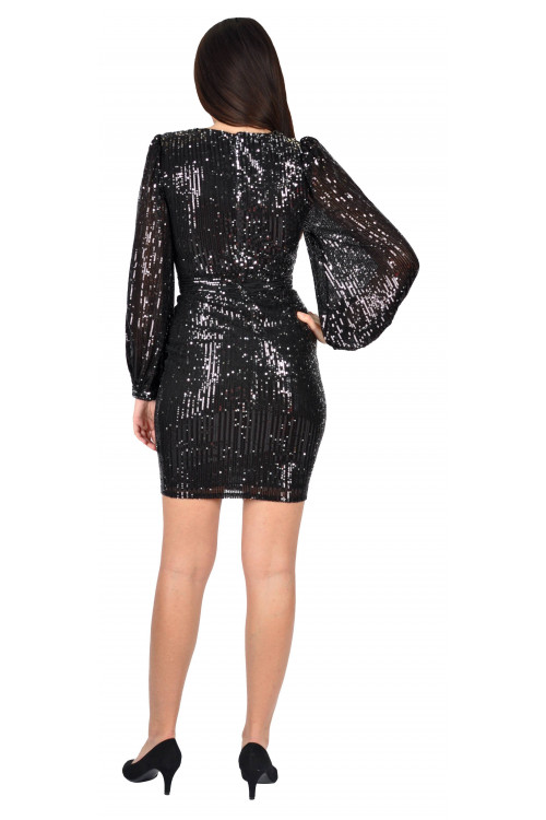 Rochie de seara neagra cu paiete 5520-6 N
