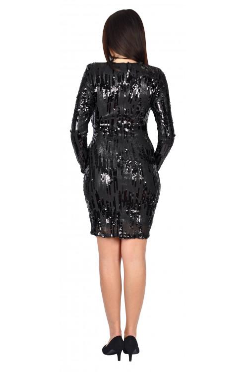 Rochie de seara neagra cu paiete 5290-6 NG