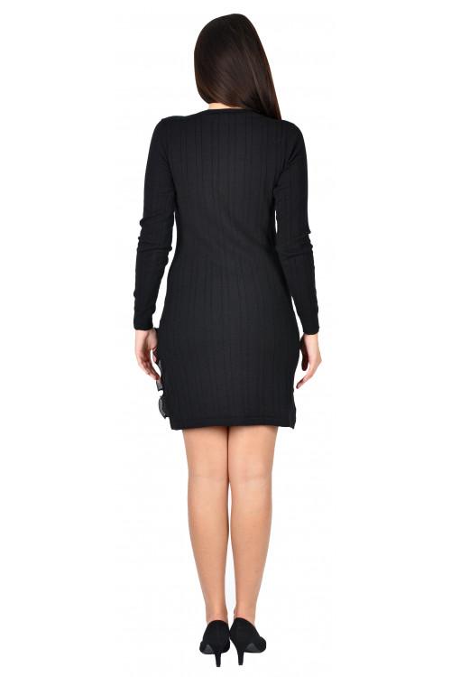 Rochie neagra tricotata cu maneca lunga 19737 NG