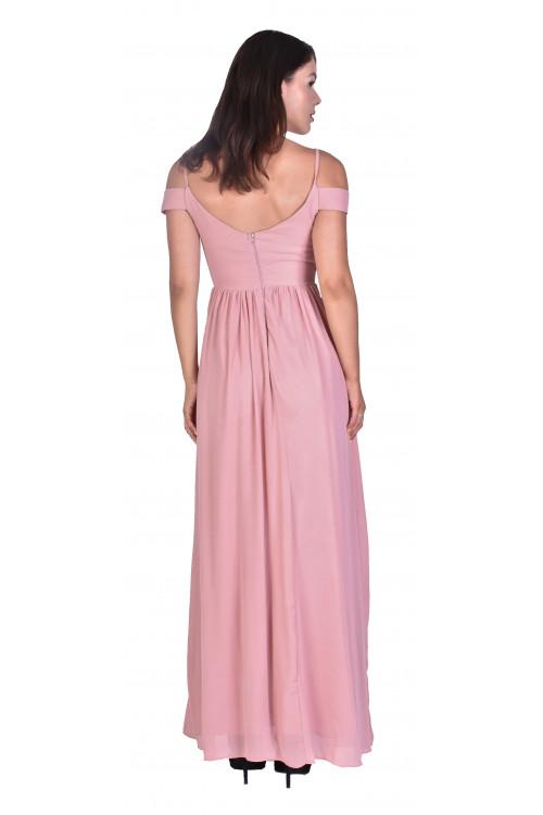 Rochie de ocazie lunga roz R1312 ROZ I