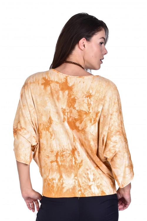 Bluza mustar cu imprimeu tie-dye 842 M