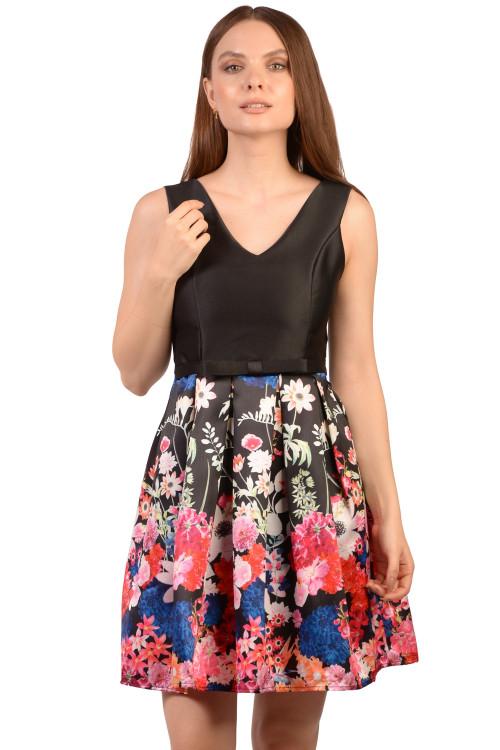 Rochie de seara neagra cu imprimeu floral 8623 NG